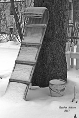 Snow Wooden Sled (rcss2800) Tags: winter landscape snow christmas road tree park sled yard blackandwhite monochrome toboggan