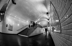 MC Peleng 8 mm f/ 3.5 A ( МС Пеленг 3,5/8А ) - DSCF0317 (::Lens a Lot::) Tags: mc peleng 8 mm f 35 a paris | 2017 fisheye darkness underground noise night light street streetphotography bw black white monochrome vintage manual prime fixed length classic lens ruelle personnes route bâtiment metro subway gate station lignes train plafond russian architecture fenêtre