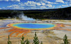The Grand Prismatic Spring : Summer morning . . . (Clement Tang **busy**) Tags: america usa yellowstonenationalpark summermorning travel wyoming grandprismaticspring nature nationalgeographic bluesky whiteclouds bluehotsteam geologicalfeature colourfulhotspring concordians closetonature microbialmats turquoisepool opalpool excelsiorgeyser midwaygeyserbasin bluehotspring landscape waterscape grandemaregroup scenicsnotjustlandscapes hdr cplfilter
