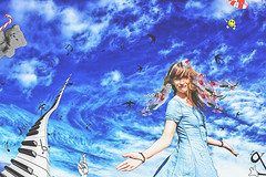 New Days. (Ldv Müh ♫) Tags: girl woman wife female feminity joy smile photomanipulation fun funny joke day sky beauty fairy fairytale flower bird music piano keyboard musicnotes draw drawing canon canoneos70d troyes aube champagne france europe world earth planet galaxy peace love brotherhood friendship nice