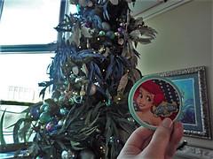 Ariel's Grotto Button in Front of Christmas Tree (BeautifulToyReviews) Tags: disneys california adventure park disneyland resort theme ariels grotto restaurant character dining princess christmas tree meet greet
