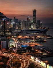 Hong Kong postcard (reinaroundtheglobe) Tags: hongkong asia china water waterfront office offices buildings skyscrapers downtown financialdistrict city cityscape skyline longexposure nopeople skycolorful color