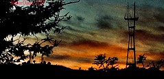 Winter ❄️ Solstice Sunset (Walker Dukes) Tags: bluegreen green urban view vista california sanfrancisco tv radio tower grey pink orange clouds blue sky