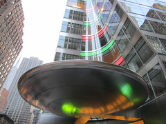 Christmas Lit Saucer Office Entrance 5108 (Brechtbug) Tags: christmas lit saucer office entrance nyc 2017 new york city 6th avenue 40th street silver metal stealth ave st space ship spaceship sneaky alien aliens art architecture midtown manhattan modern contemporary invasion science fiction theme themes ufo unidentified front door flying object hiding lobby building light lite 12172017 december tree lights green red