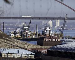 MississippiRiver_SAF5632 (sara97) Tags: barge bridge copyright©2017saraannefinke harborboatmcrane industrial mississippiriver missouri outdoors photobysaraannefinke pushboat river riverbarge saintlouis towboat