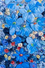 Blue flowers 4 by Liz Steveson - photo Bob Green (Bob Green 52) Tags: lizsteveson artwork wall hanging wallhanging adelaide australia needle work