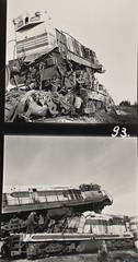 Israel Railways - Bet Yehoshua Station, 26 December 1963 - ISR Class G12 diesel locomotive Nrs. 105 & 118 (accident) (HISTORICAL RAILWAY IMAGES) Tags: israel railways diesel train locomotive accident 1963 רכבת ישראל תאונה isr gm