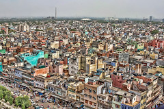 Old Delhi from on high (Pejasar) Tags: tower turret mosque jamamasjid olddelhi india view city cityscape color humanity life living people bustle homes businesses