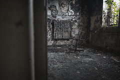 hot seat (james_drury) Tags: blackened room destruction fire explored urbex urbanexploration lone chair burnt wrecked empty derelict out yorkshire canonef2470mmf28liiusm trashed abandoned radiator charred remains