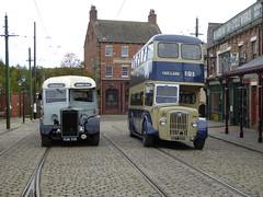 A Crossley and a Weymann (Terry Pinnegar Photography) Tags: beamish museum countydurham bus vintage cobbles daimler cvg6 rotherham rotherhamcorporation ket220 crossley sd427 fun319 burlingham c33f wrightbros