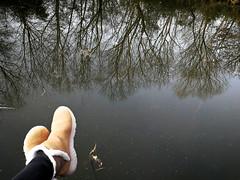 Relax (MelindaChan ^..^) Tags: xixi wetland 西溪濕地 hangzhou china 杭州 chanmelmel mel melinda reflection tree water shoes boots