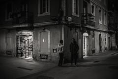 Night in the suburbs....... (Dafydd Penguin) Tags: blackandwhite blackwhite black white bw mono monochrome noir supermarket supermerkat barri gotic barcelona barceloneta city urban spain catalunya catalonia candid street people men corner standing raw after dark night shots nighthawks nikon df nikkor 35mm f2d