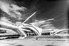 Milwaukee Art Museum (Myk Jordan) Tags: canon milwaukee wisconsin us unitedstates milwaukeeartmuseum wi mke architecture building cloud clouds blackwhite bw