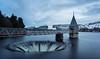 Sinking Feeling (Paul C Stokes) Tags: pontsticill reservoir south wales long exposure 20 seconds snow snowy landscape blue hour sony a7r zeiss 1635 sel1635z sinkhole drainhole drain hole
