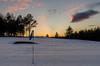 The 15th (poach01) Tags: sunset sunrise golf golfcourse flag snow winterscene wintersun