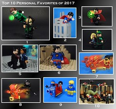 2017 Top 10 (-Metarix-) Tags: lego minifig collection top 10 2017 new year super hero marvel dc comics comic cinematic universe flash green arrow superman doctor strange blue beetle booster gold avengers age ultron prime superboy