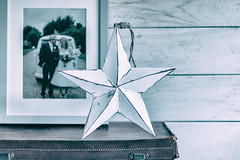 3/365: Star of the show... (judi may) Tags: 365the2018edition 3652018 day3365 03jan18 weddingphoto star woodenstar ornament suitcase vintage vintagesuitcase string canon7d tabletopphotography stilllife monochrome mono 100xthe2018edition 100x2018 image1100
