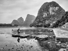 yangshuo (AlistairKiwi) Tags: china olympus travel omd lijiang river guangxi black white monochrome landscape water sky rock olympus1442mm yangshuo