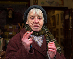 Nancy (Charles Hamilton Photography) Tags: glasgow characterstudy thebarrasmarket colourstreetportrait glasgowstreetphotography winteringlasgow urbanlife people primelens nikond750 naturallight streetportrait glasgowcharacter eastend eyecontact character charleshamilton