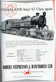 Africa Railways - Nyasaland Railway - NR Class G 2-8-2 steam locomotive (Robert Stephenson Locomotive Works, Darlington)