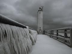 Cheboygan Light (Elizabeth Glass) Tags: ice winter pier light cheboygan michigan olympus em5ii