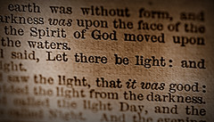 Let there be light! (SteveJM2009) Tags: litbycandlelight macromondays lettherebelight genesis bible passage candlelit light print printing letterpress focus dof bournemouth antique dorset uk text words typeface december 2017 stevemaskell
