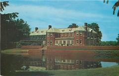 Allerton House & reflection pool postcard, Monticello, IL c1953 (RLWisegarver) Tags: piatt county history monticello illinois usa il