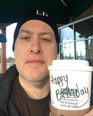 Day 2190: Day 365: Birthday drink (knoopie) Tags: 2017 december iphone picturemail birthday starbucks coffee ourbirthdaypromise happybirthday wellalwaysmakeitright riverroad sequim doug knoop knoopie me selfportrait 365days 365daysyear6 year6 365more day2190 day365
