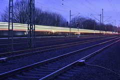 Lightsaber Express (Robin Shepperson) Tags: train exposure d3400 nikon night berlin germany moabit tracks speed transportation transport wires city express industry dark