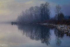 Fog on the River (SonjaPetersonPh♡tography) Tags: mapleridge porthaney bc britishcolumbia canada nikon nikond5300 fraserriver fog silhouettes river porthaneywharf pier clouds riverfront waterfront waterscape landscape dusk shadows topazstudio