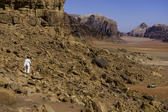 Mohammed showing me around in the Wadi Rum in his rickety ride