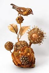 Amy Gross, Palm Warbler's Biotope (amyla174) Tags: beadedobjects amygross fiberart fiber sculpture beads biotope symbiosis bird warbler paper art artwork momentumgallery asheville smallworksbigimpact