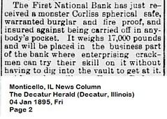 First National Bank gets new Vault, Monticello, IL, 1895-01-04 (RLWisegarver) Tags: piatt county history monticello illinois usa il