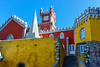 Sintra Castle, Lisbon, Portugal (Marian Pollock) Tags: portugal europe sintra palace colourful sky architecture stairs tower lisbon building fort clock windows