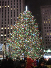 2017 Christmas Tree Rockefeller Center 5042 (Brechtbug) Tags: 2017 christmas tree rockefeller center with lights 12162017 nyc 30 rock new york city standing up above ice rink snow shoveling workers skating holiday decoration ornaments night lites light oversize load ornament midtown manhattan