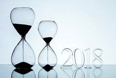 A New Year (Karen_Chappell) Tags: newyear happynewyear stilllife holiday glass hourglass 2018 number reflection blue time
