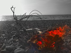 Fire on the beach (panoskaralis) Tags: fire flame beach fygokentrosbeach charamida sand sea seascape seaside seafront nature island camping blackwhite red lesvosisland lesvos mytilene greece greek hellas hellenic outdoor landscape lgg3d855