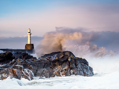 Storm Caroline (burnsmeisterj) Tags: olympus omd em1 aberdeen harbour stormcaroline breakwater waves lighthouse scotland sea rocks storm weather