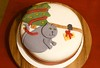 Christmas Cake B, 2017 (devoutly_evasive) Tags: cake decorated fruitcake christmas xmas fondant iced icing cat grey fat naughty bad trap trapping catching bait baiting cheese mouse mice tree garland kitty fruit brandy ribbon
