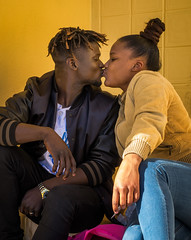 'Cali and Sandra' (Canadapt) Tags: woman man girl boy teens kiss couple relationship students pose portrait affection love loures portugal canadapt street