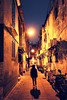 (perryge) Tags: macau streetphotography alley night architecture buildings old woman walking lights colour travel people urban city symmetry