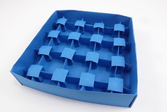 Monument Valley Corrugation (front) inside Predictable Box (Michał Kosmulski) Tags: origami corrugation tessellation box triangles octagons squares michałkosmulski tantpaper blue