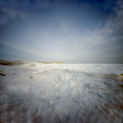 Maple St Beach Pinhole [1] (jwbeatty) Tags: 120 analog ektar100 film filmisnotdead frozen ice illinois ishootfilm kodak lakemichigan landscape lensless longexposure mediumformat naute pier pinhole realitysosubtle6x6 snow winnetka winter