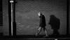 2017_352 (Chilanga Cement) Tags: bw blackandwhite bricks wall man walking walker sidewalk pavement coat post sign monochrome orm shadows shadow fujix100f x100f xseries