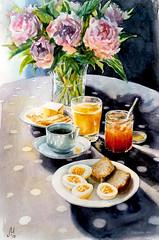 1984 (Мария Юрист) Tags: свет light watercolor nevskayapalitra акварель натюрморт stilllife flowers цветы еда food 365 enterclass autumn осень