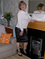 Reflections (janegeetgirl2) Tags: transvestite crossdresser crossdressing tgirl tv ts stockings heels garters nylons glamour office cardigan black pencil stilettos fully fashioned high vintage seams white suspenders jane gee skirt legs