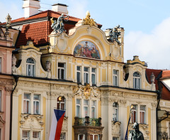 2017Danube-8910 (Cache Scouter) Tags: 2017 cz czechrepublic danube governmentoffice oldtown oldtownsquare other prague building cherubs cruise flags gold statues yellow czechia