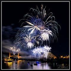 Fireworks_7694 (bjarne.winkler) Tags: 2017 new year firework over sacramento river with tower bridge ziggurat building background