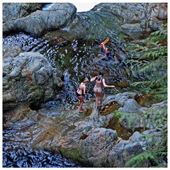 Slippery Rocks (HereInVancouver) Tags: swimmers underwear pond river lynnvalleypark fromabove candid streetphotography outofbounds water summer bc canada thingstodobythewater