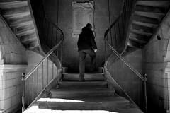 (cherco) Tags: stairs escaleras subir older lonely solitario silhouette up church blackandwhite blancoynegro man alone aloner street simetria silueta wood composition composicion canon city ciudad 5d arquitectura architecture